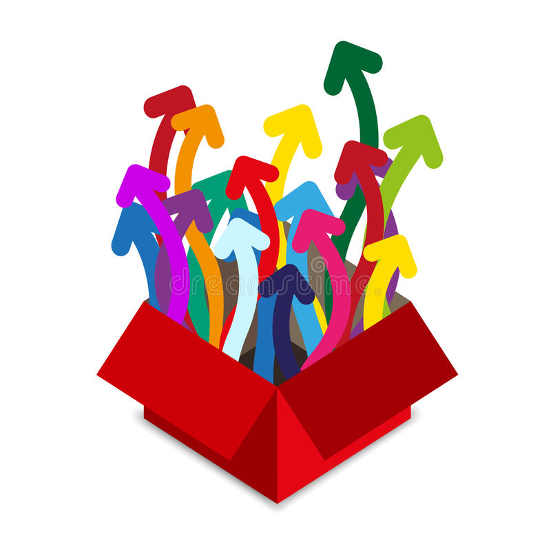 Rode doos met vele kleurenpijlen vector illustratie