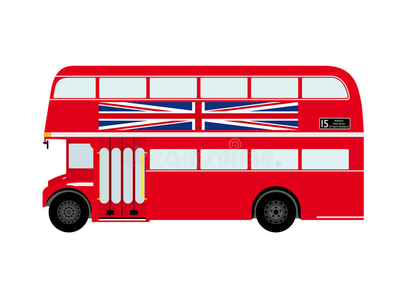 Rode Doubledecker van Londen Bus met Union Jack vector illustratie