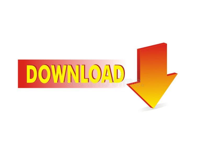 Rode downloadpijl stock illustratie