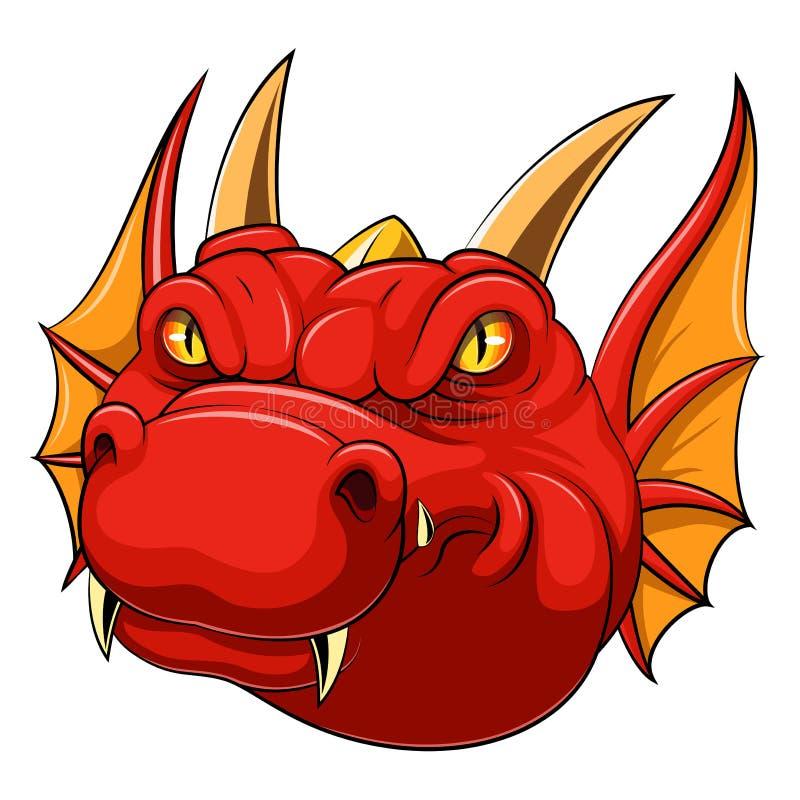Rode draak hoofdmascotte stock illustratie