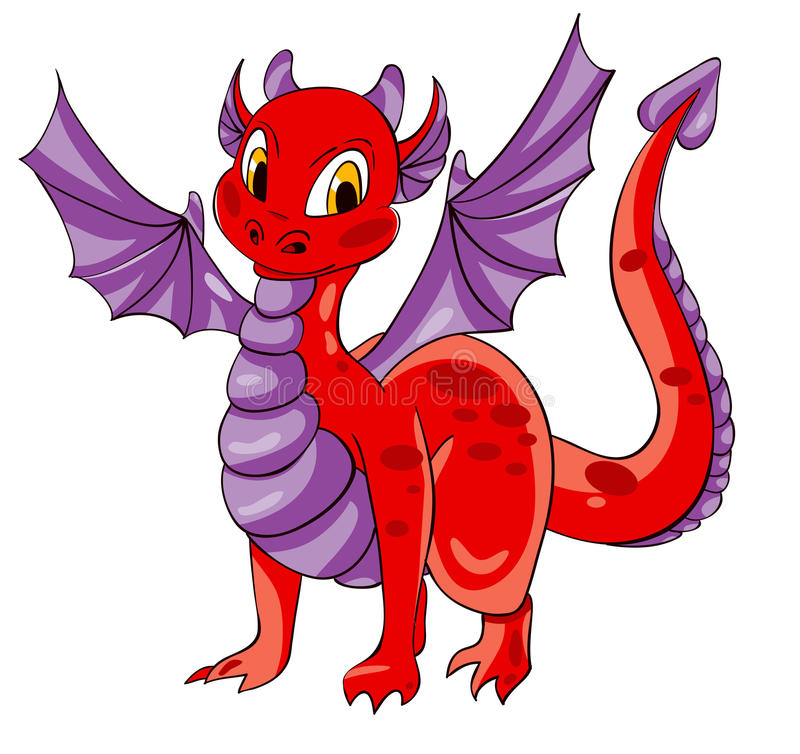 Rode draak met purpere vleugels vector illustratie