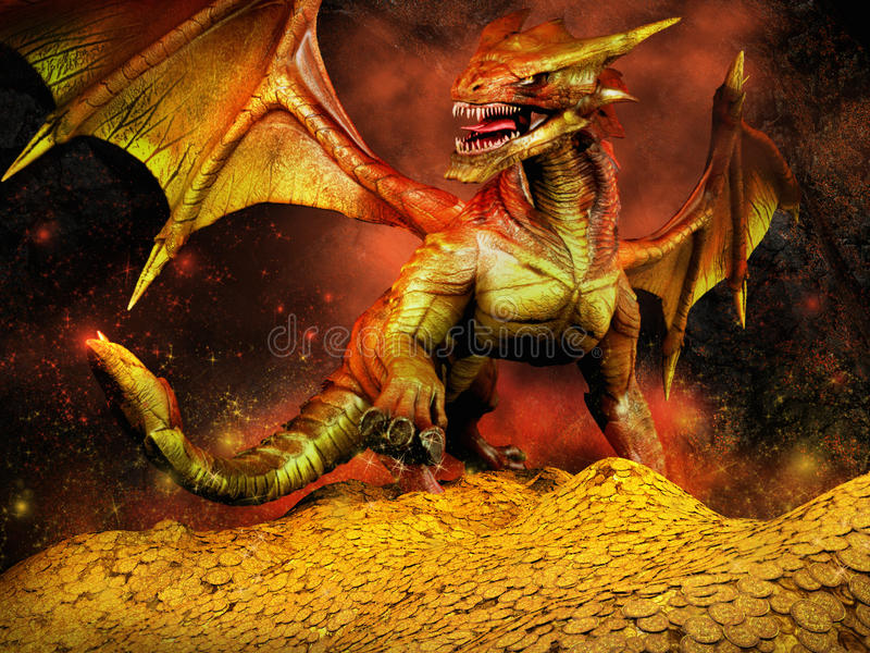 Rode draak op een stapel van goud stock illustratie