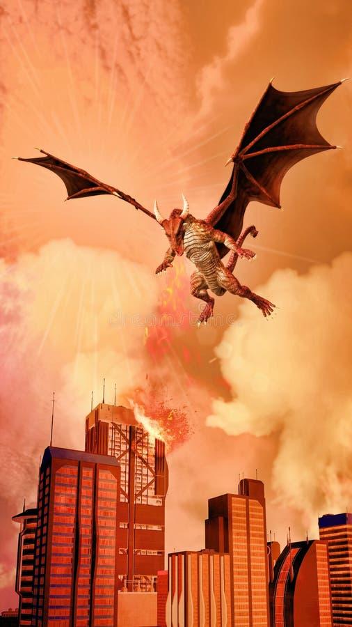 Rode Dragon Attacking Modern City-illustratie vector illustratie