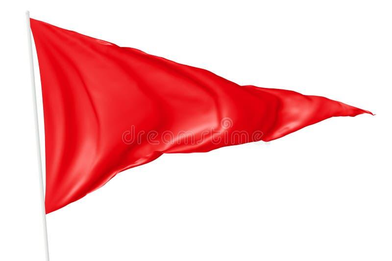 Rode driehoekige vlag op vlaggestok royalty-vrije illustratie