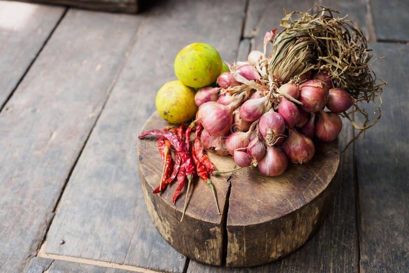 Rode droge hete de Spaanse peperpeper van de ui groene citroen royalty-vrije stock afbeeldingen