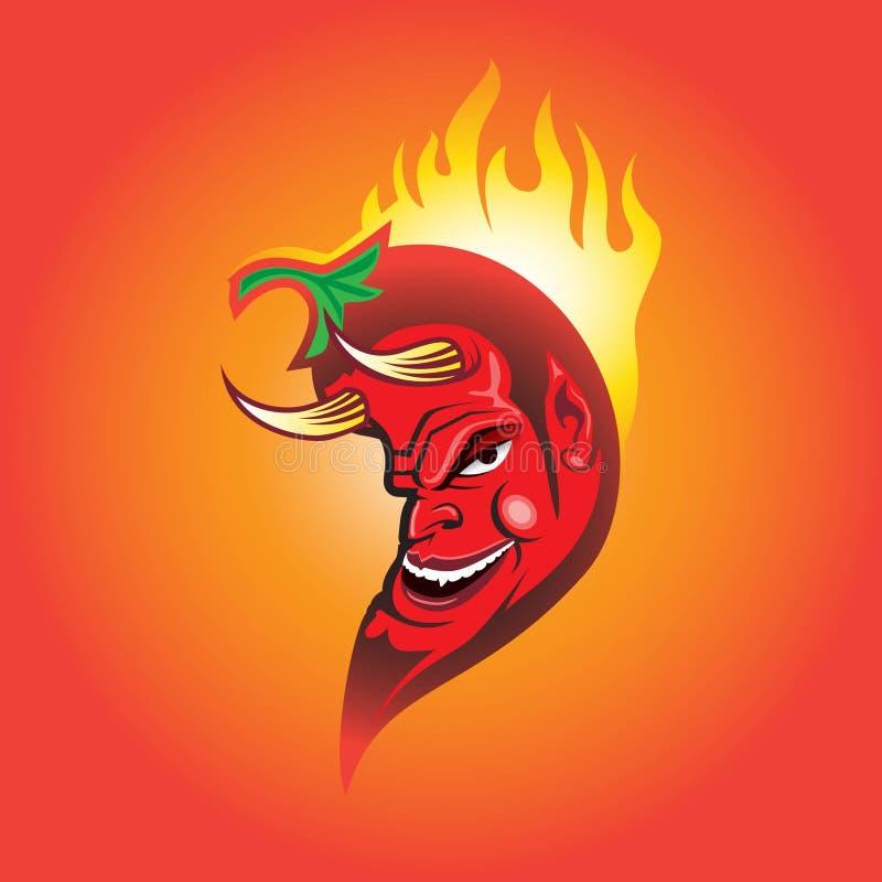 Rode Duivelsspaanse pepers, Mexicaanse Spaanse pepers of jalapeño vectorillustratie royalty-vrije illustratie