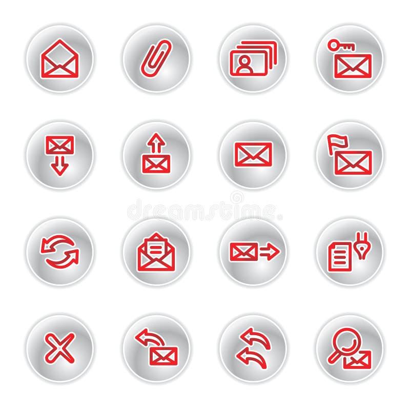 Rode e-mailpictogrammen stock illustratie
