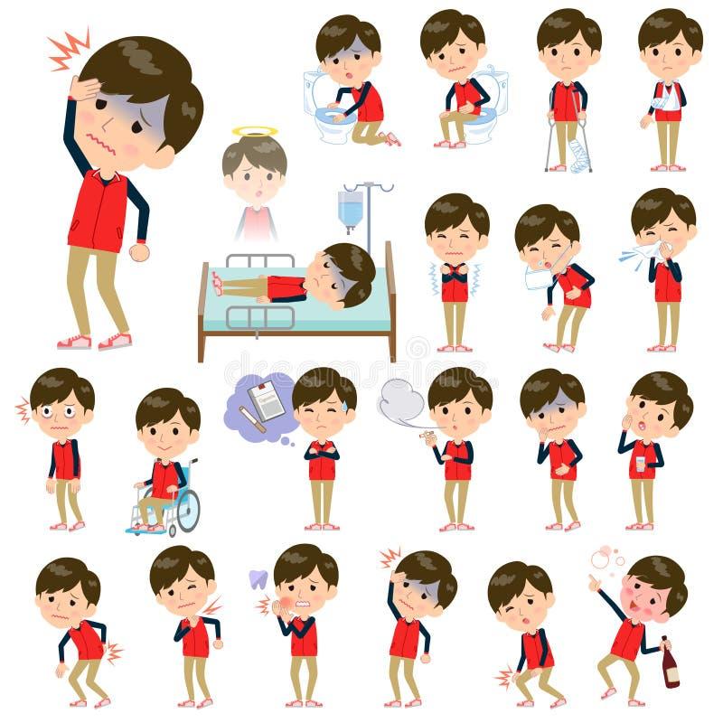 Rode eenvormige men_sickness van het opslagpersoneel vector illustratie