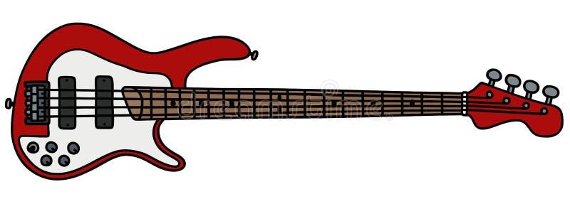 Rode elektrische basgitaar royalty-vrije illustratie