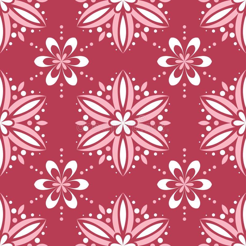 Rode en beige bloemenachtergrond Gekleurd naadloos patroon vector illustratie