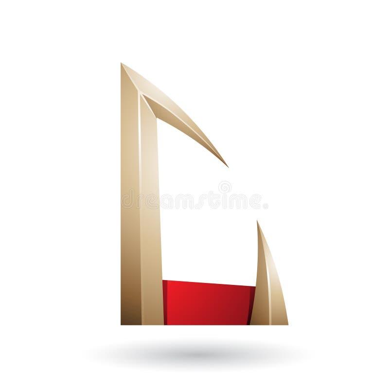 Rode en Beige Pijl Gevormde die Brief C op een Witte Achtergrond wordt geïsoleerd royalty-vrije illustratie