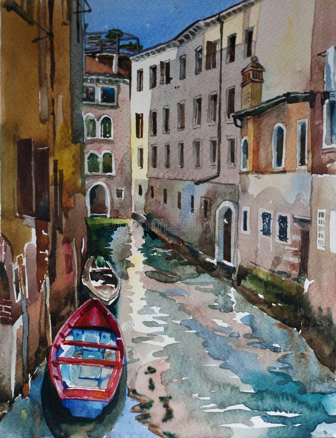 Rode en blauwe boot in het kanaal van Venetië, Italië royalty-vrije illustratie
