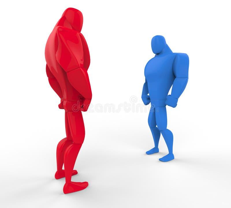 Rode en blauwe 3D Strongmen in een tribune - weg stock illustratie