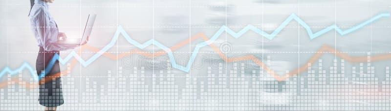 Rode en blauwe de groeigrafiek Concept voorraad en uitwisseling royalty-vrije stock foto's