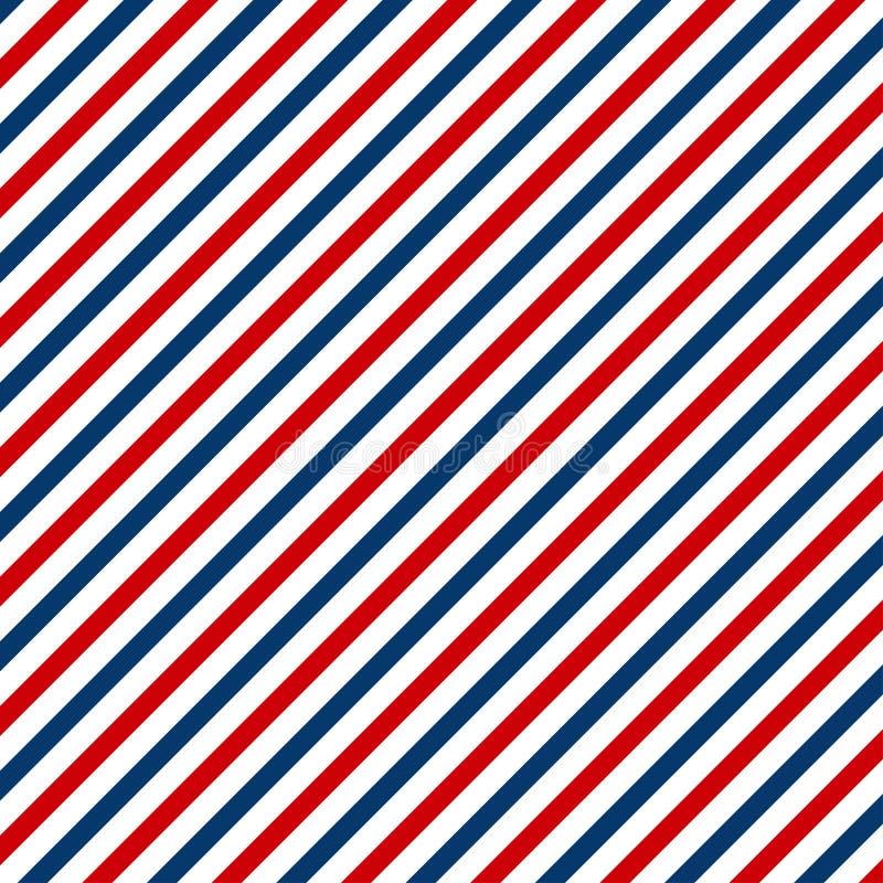 Rode en blauwe diagonale lijnen naadloze patroonabstractie vintage-textuur van Barbershop stock illustratie