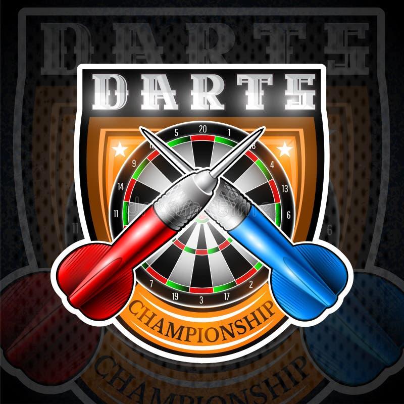 Rode en blauwe pijltjes die met rond dartboard in centrum van schild worden gekruist Sportembleem voor om het even welk pijltjess vector illustratie