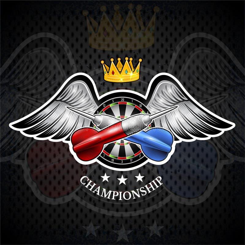 Rode en blauwe pijltjes die met rond doel in centrum tussen vleugels worden gekruist Sportembleem voor om het even welk pijltjess royalty-vrije illustratie