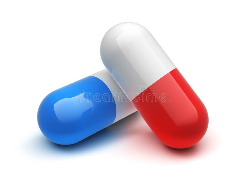Rode en blauwe pil royalty-vrije illustratie