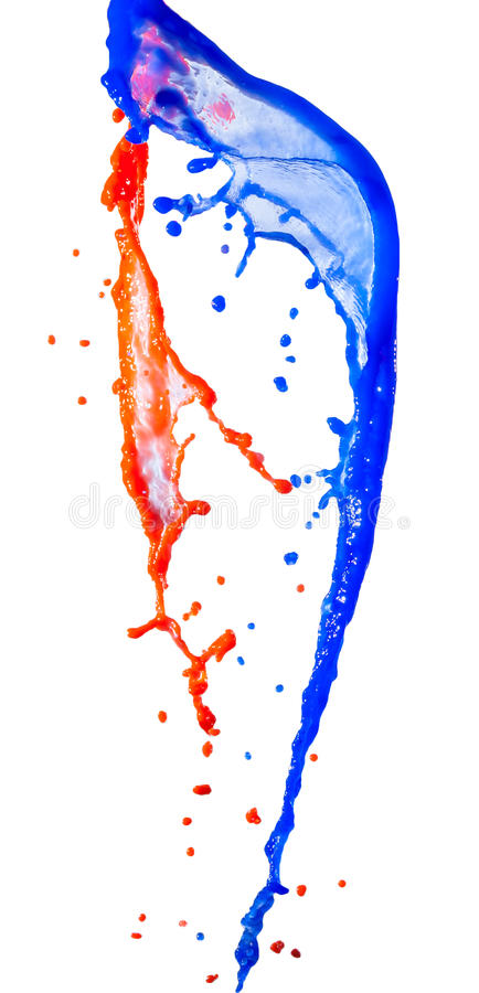 Rode en blauwe verfplons royalty-vrije stock fotografie