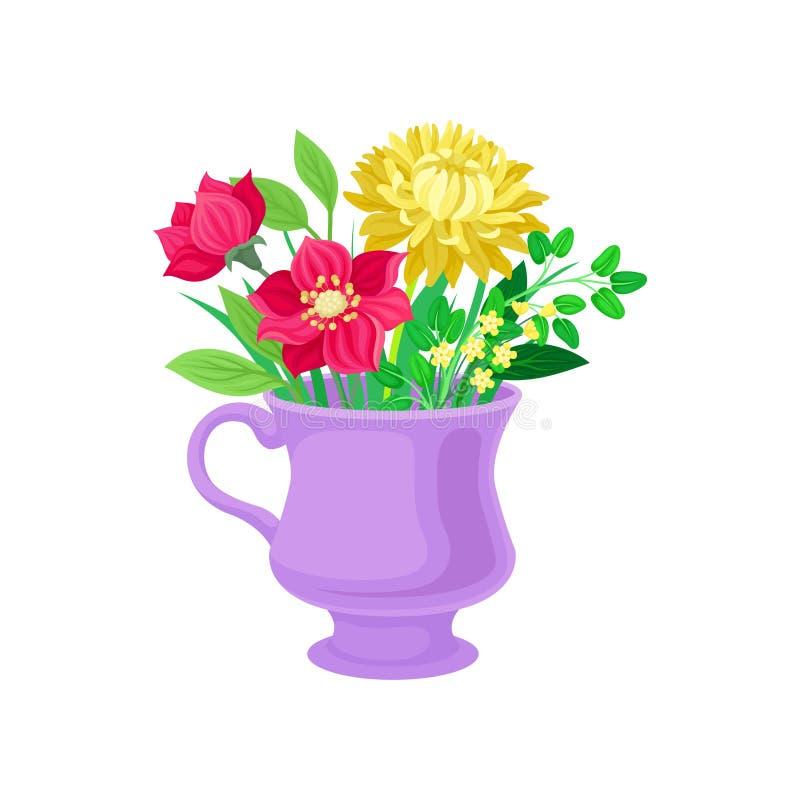Rode en gele bloemen in een mok Vector illustratie op witte achtergrond royalty-vrije illustratie
