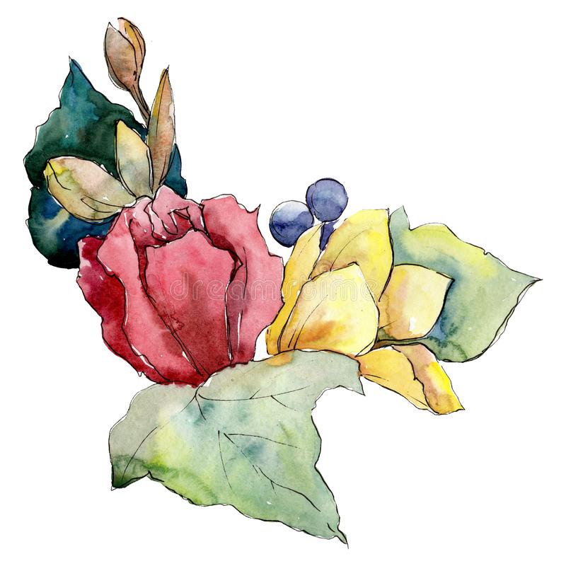 Rode en gele bloemen met groene bladeren Het geïsoleerde element van de boeketillustratie Waterverf achtergrondillustratiereeks royalty-vrije illustratie