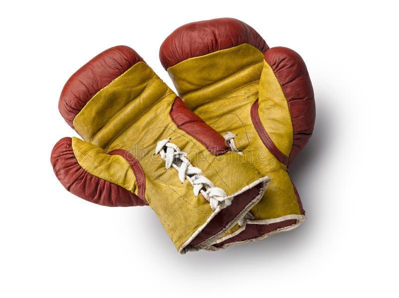 Rode en gele boxehandschoenen royalty-vrije stock fotografie