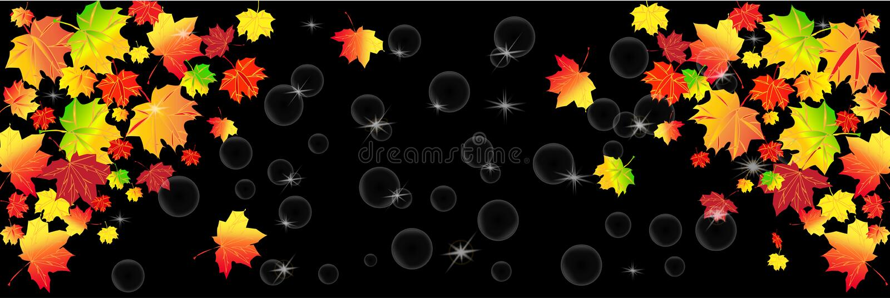 Rode en gele de herfstbladeren op een zwarte achtergrond Herfst abstracte achtergrond, panorama stock illustratie