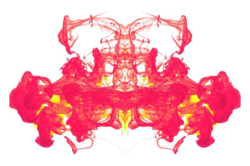 Rode en Gele inktsamenvatting stock afbeeldingen