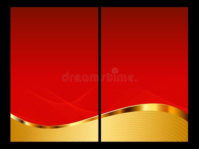 Rode en gouden abstracte achtergrond, voorzijde en rug stock illustratie