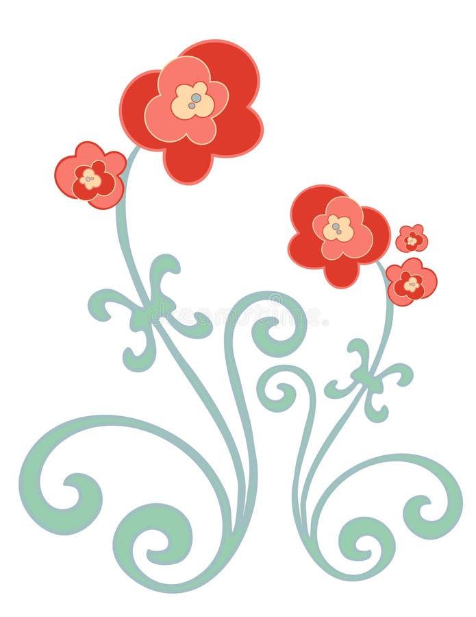 Rode en gouden bloemen royalty-vrije illustratie
