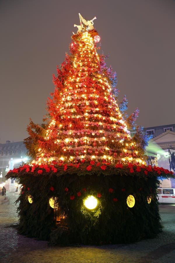 Rode en Gouden Kerstboom royalty-vrije stock afbeeldingen
