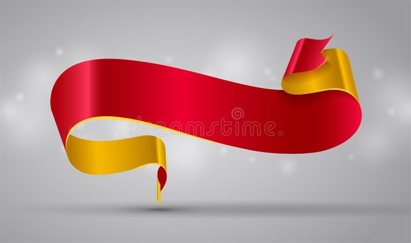 Rode en gouden lint of banner royalty-vrije illustratie