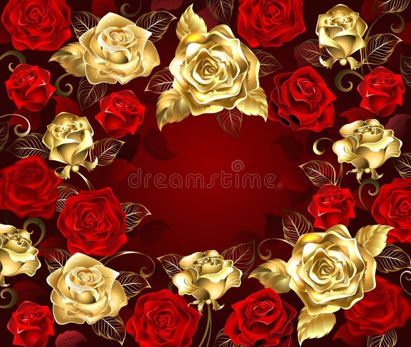Rode en gouden rozen vector illustratie