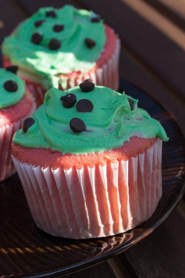 Rode en groene chocoladeschilfer cupcake stock afbeelding