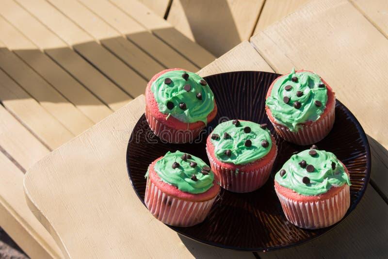 Rode en groene chocoladeschilfer cupcake royalty-vrije stock afbeeldingen