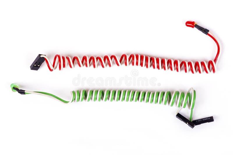 Rode en groene die dioden op wit worden geïsoleerd royalty-vrije stock foto