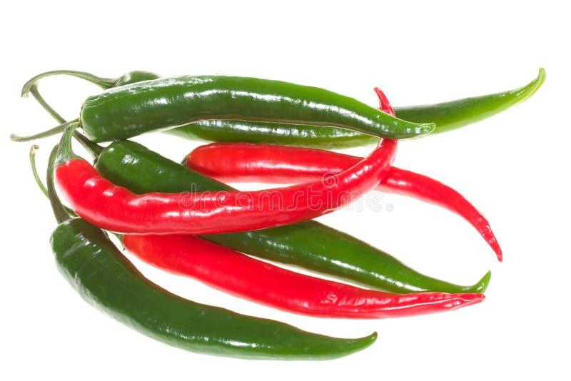 Rode en groene hete Spaanse peperpeper stock fotografie