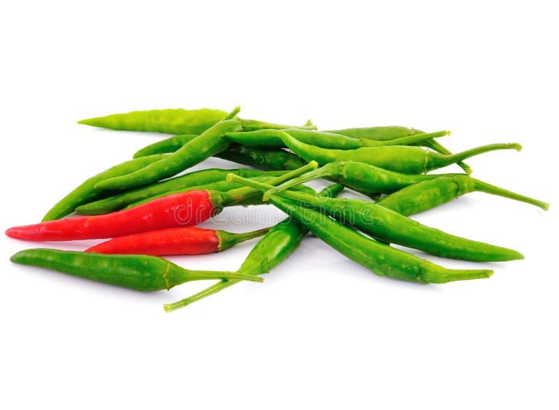 Rode en groene hete Spaanse peperspeper stock fotografie