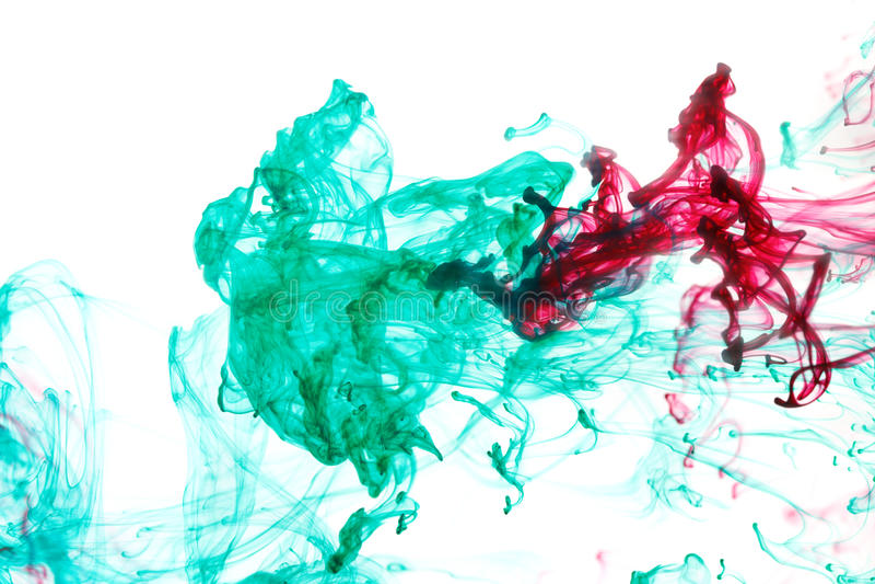 Rode en groene inkt in water royalty-vrije stock foto