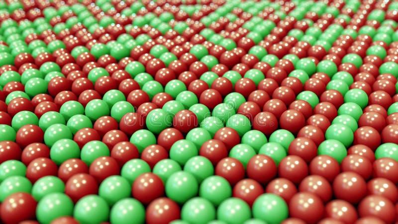 Rode en groene plastic ballen het 3d teruggeven royalty-vrije illustratie
