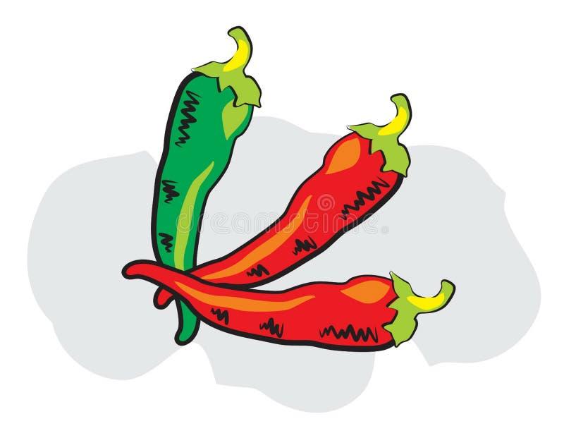 Rode en groene Spaanse peper in krabbelstijl royalty-vrije illustratie