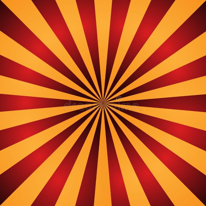 Rode en Oranje Zonnestraalachtergrond Radiale stralen abstracte vectorillustratie stock illustratie