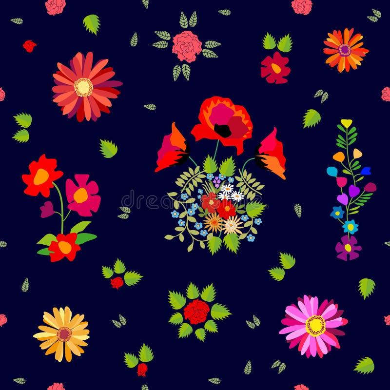 Rode en roze de herfstboeketten Naadloos vectorpatroon met retro motieven stock illustratie