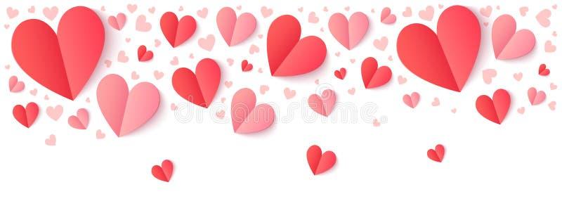 Rode en roze document harten met schaduw, de vectorgrens van de Valentijnskaartendag vector illustratie