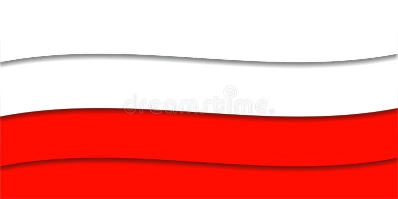 Rode en witte achtergrond met golvende linten royalty-vrije illustratie