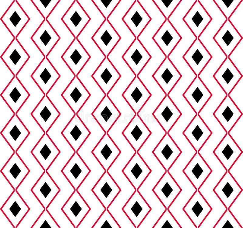 Rode en witte diamanten op wit stock illustratie