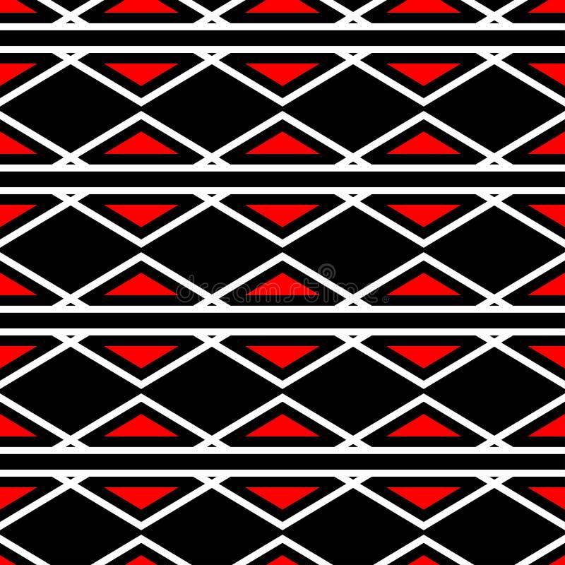 Rode en witte geometrische ontwerpen Naadloze zwarte achtergrond royalty-vrije illustratie