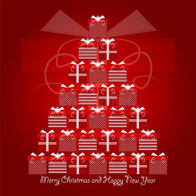 Rode en witte Kerstmisgiften die Kerstmisboom met vrolijke Kerstmis en gelukkige nieuwe jaargroeten vormen stock illustratie