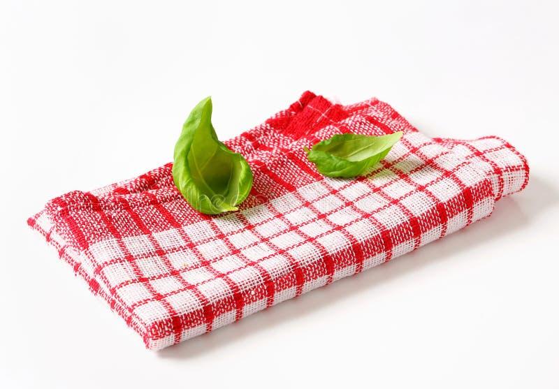 Rode en witte keukentheedoek royalty-vrije stock afbeelding