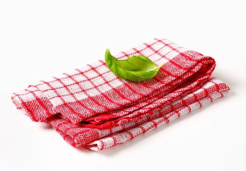 Rode en witte keukentheedoek stock fotografie